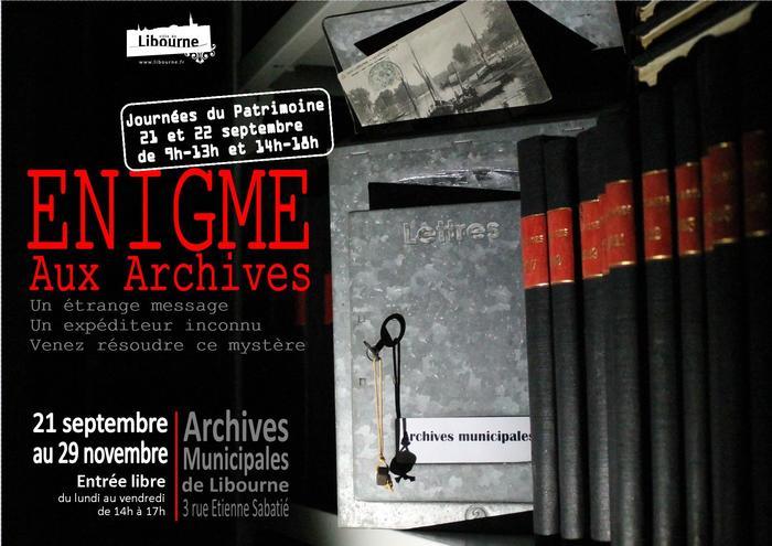 Journées du patrimoine 2019 - Énigme aux archives