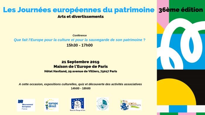 Journées du patrimoine 2019 - Que fait l'Europe pour la culture et la sauvegarde de son patrimoine ?