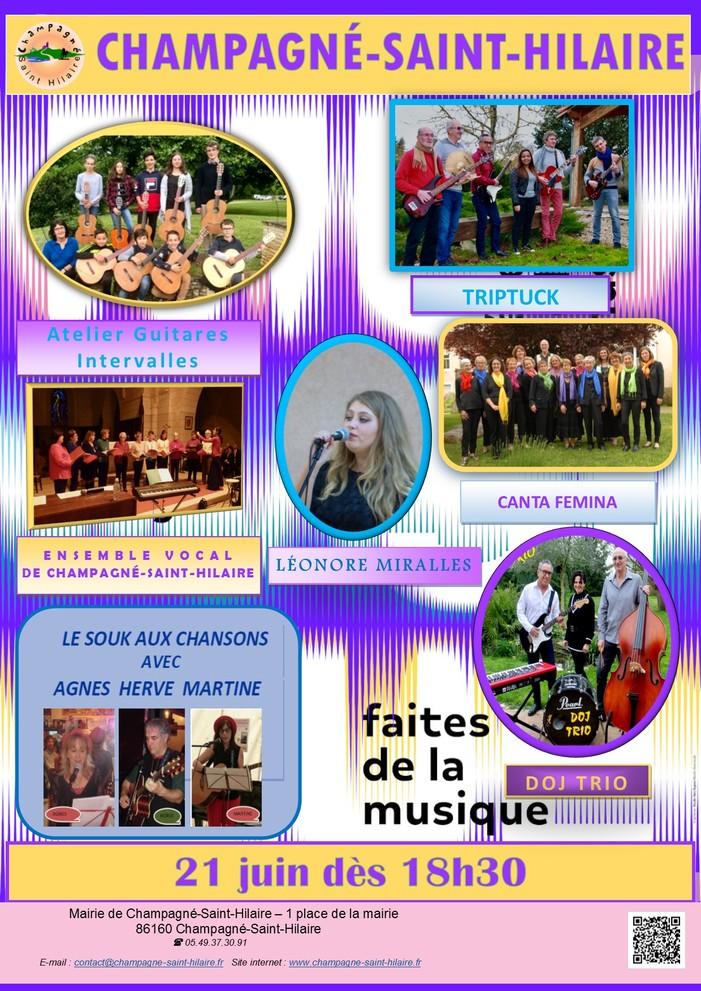 Fête de la musique 2019 - Doj Trio, Groupe Triptuck, Orchestre des Guitares, Ensemble Vocal, La chorale Canta Femina, Léonore Moralles, Le Souk aux Chansons