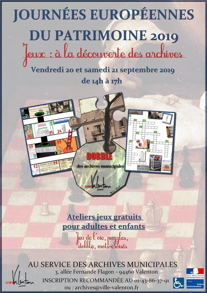 Journées du patrimoine 2019 - Jeux : à la découverte des archives