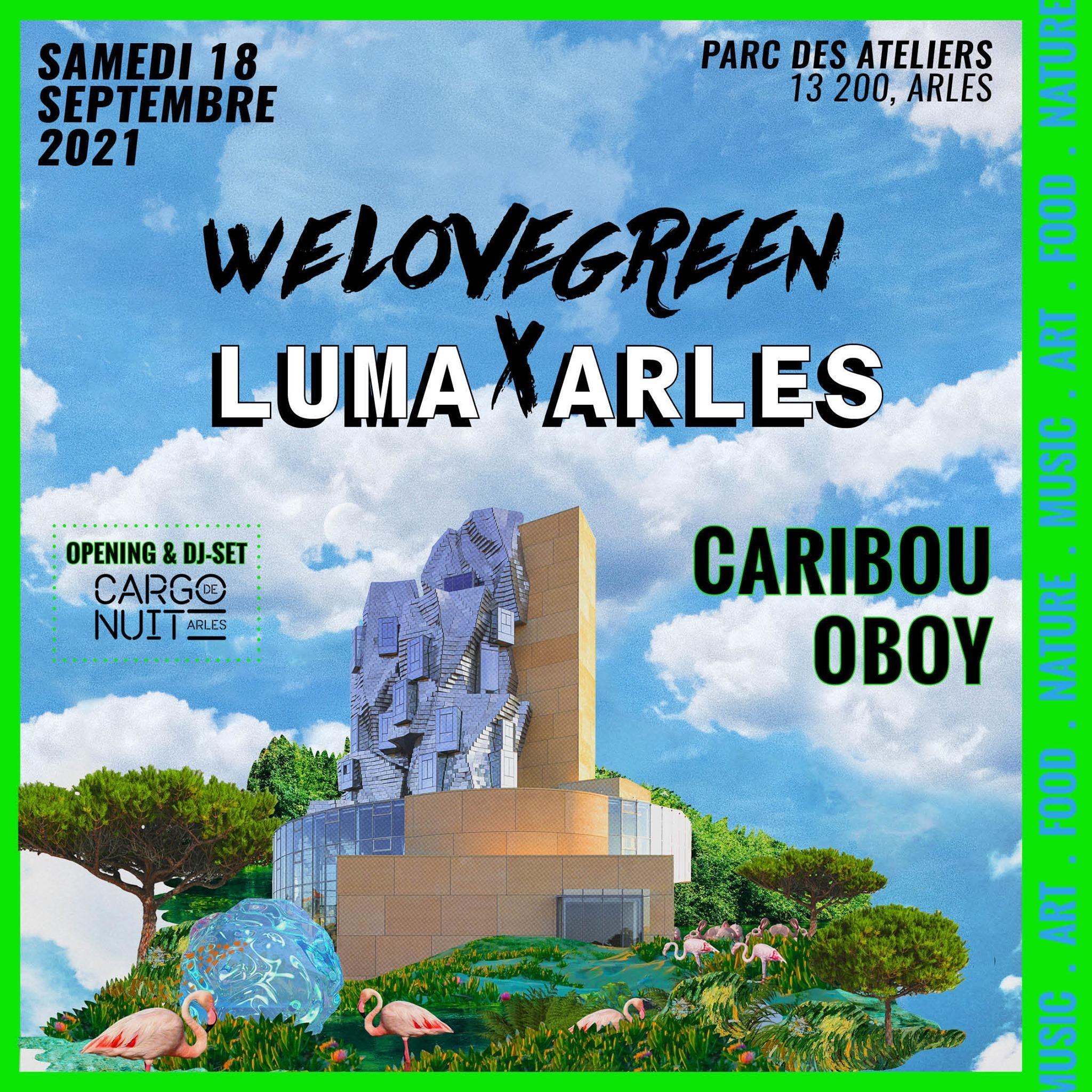 Deux ans après la première collaboration avec LUMA, WE LOVE GREEN revient à Arles pour une soirée d'art, de musique et de partage, le samedi 18 septembre à partir de 19h.