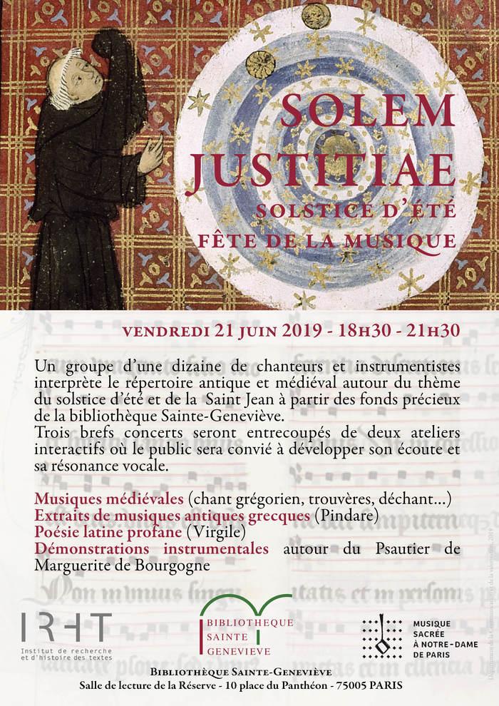 Fête de la musique 2019 - Solem justiciae : Solstice d'été