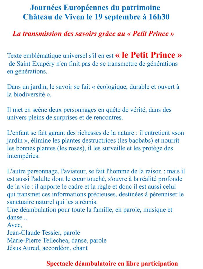 Journées du patrimoine 2020 - Spectacle : Le Petit Prince