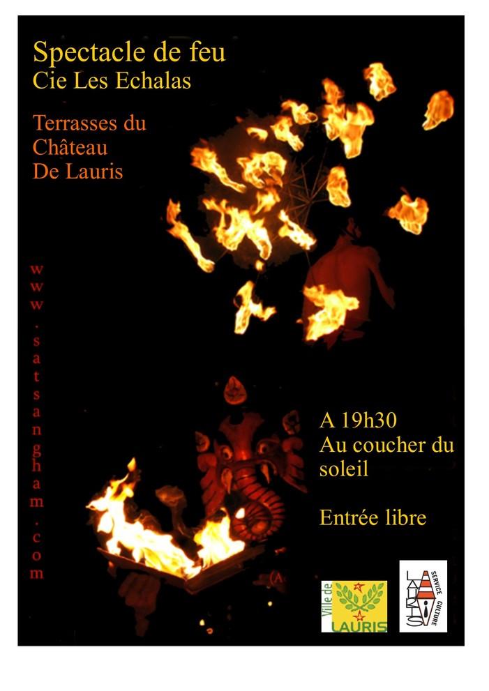 Journées du patrimoine 2019 - spectacle de feu au coucher du soleil / cie Les Echalas