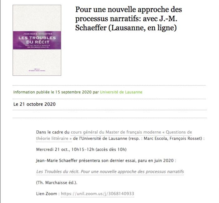 Dans le cadre des « Questions de théorie littéraire » de l'Université de Lausanne (resp. : Marc Escola, François Rosset)
