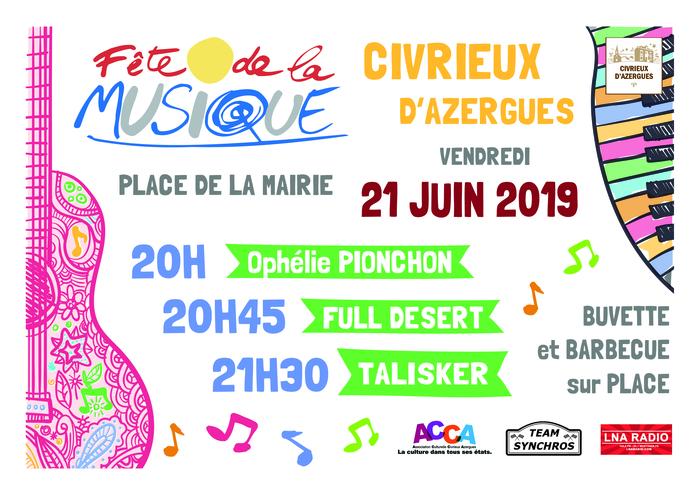 Fête de la musique 2019 - Ophélie Pionchon / Full Desert / Talisker