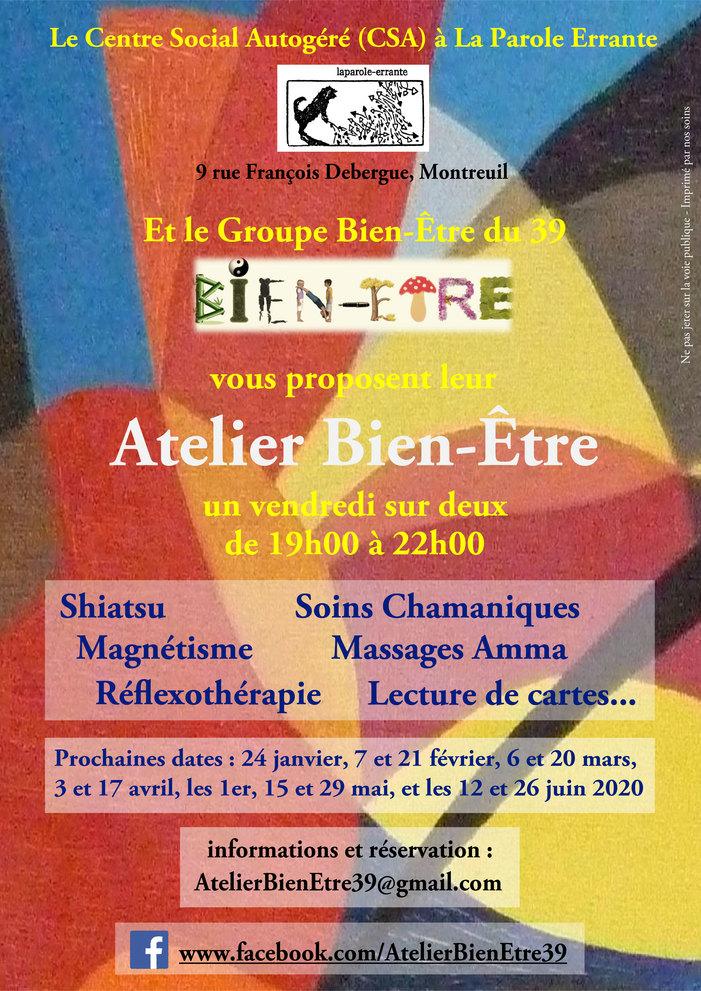 Atelier Bien-Être au CSA - Un vendredi sur deux, de 19h00 à 22h00 - Inscription par mail - Prix libre et conscient