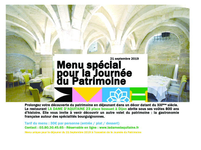 Journées du patrimoine 2019 - La Dame d'Aquitaine - Visite libre & Menu Spécial Journée du Patrimoine