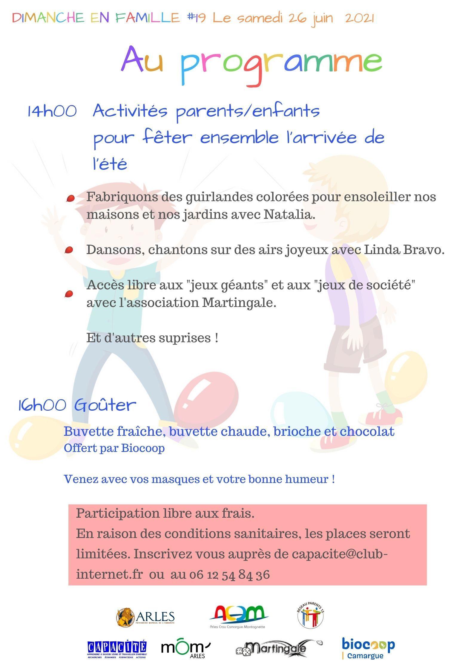 Un programme d'activités Parents/Enfants pour jouer, rire, se cultiver et passer du bon temps ensemble : atelier créatif, musique, chants et danse, jeux de groupe et de société.
