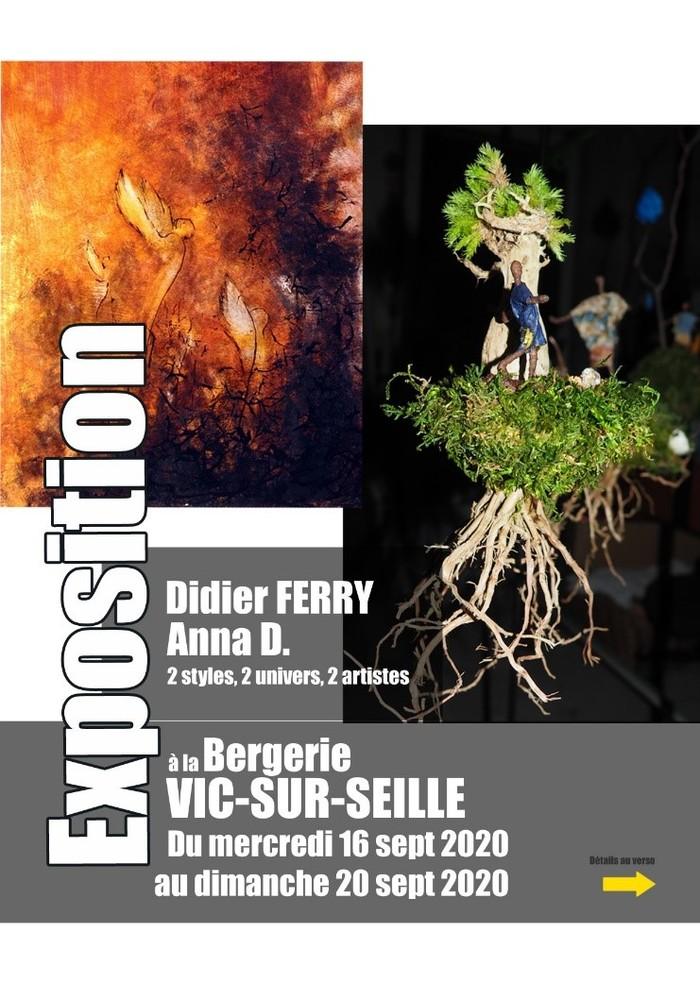 Journées du patrimoine 2020 - Expo-vente de dessins, peintures, sculptures par deux créateurs du Saulnois, Didier Ferry et Anna D.