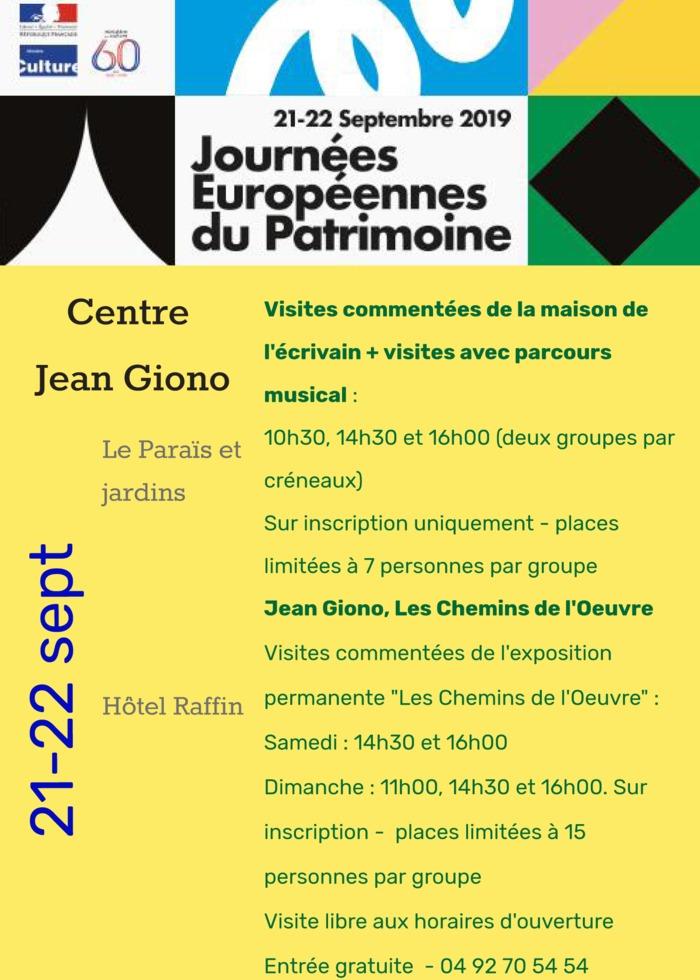 Journées du patrimoine 2019 - Visites commentées du Paraïs, la maison de Jean Giono