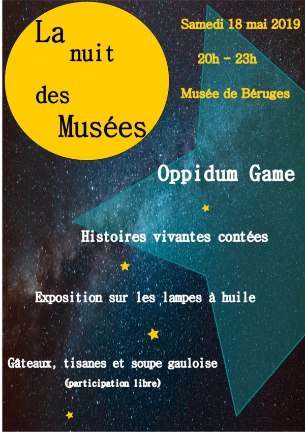Nuit des musées 2019 -Oppidum Game - Exposition de lampes à huiles - Dégustation - Histoires vivantes contées