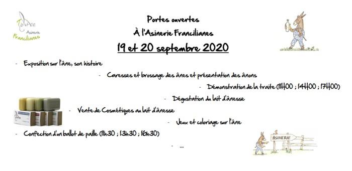 Journées du patrimoine 2020 - Portes ouvertes de l'asinerie Francilianes : élevage d'anesses laitières biologique