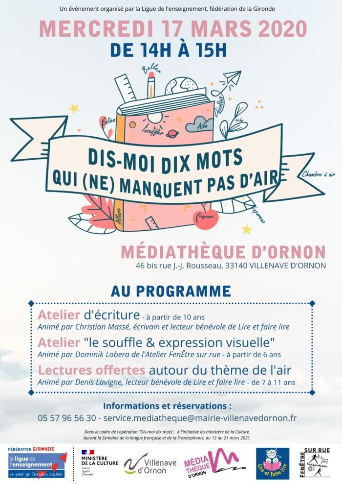 La Ligue de l'enseignement, fédération de la Gironde propose le mercredi 17 mars 2021 des ateliers autour du thème de l'air. Cet après-midi aura lieu à la Médiathèque d'Ornon.