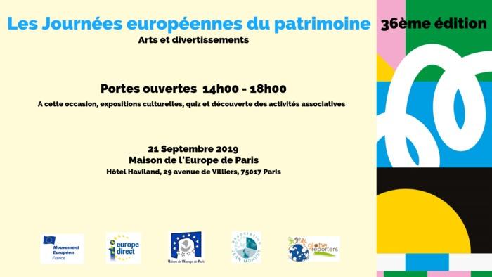 Journées du patrimoine 2019 - Après-midi portes ouvertes : associations européennes et patrimoine