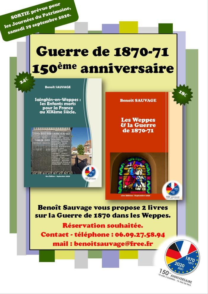 Journées du patrimoine 2020 - Soirée de lancement des 2 livres de Benoît Sauvage sur Sainghin, les Weppes et la Guerre de 1870