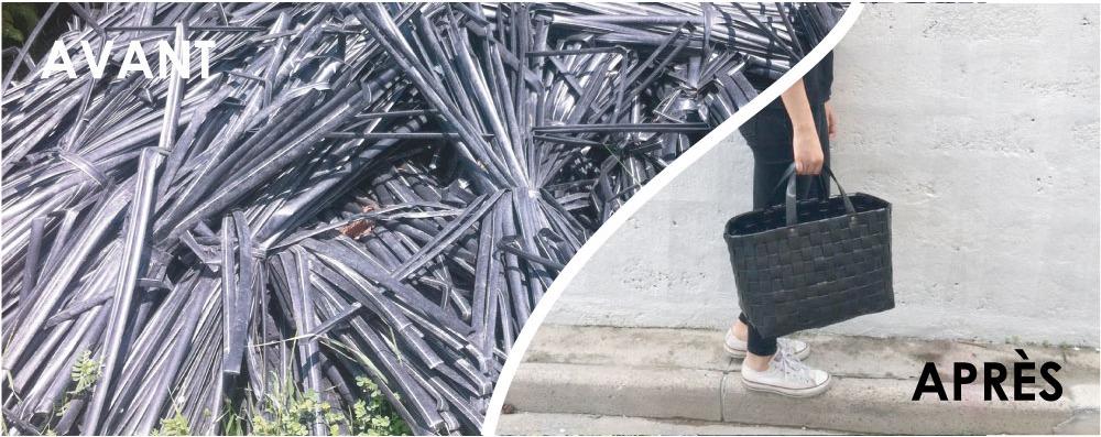 Venez apprendre à tisser votre cabas à partir de tuyaux de goutte à goutte usagés !