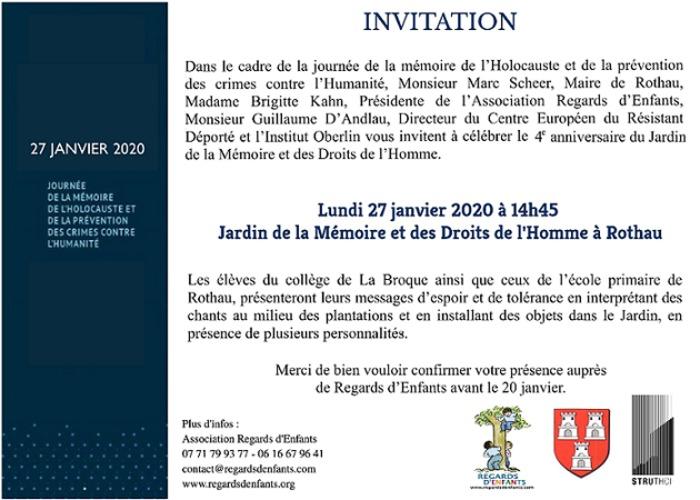 4e anniversaire du Jardin de la Mémoire et des Droits de l'Homme