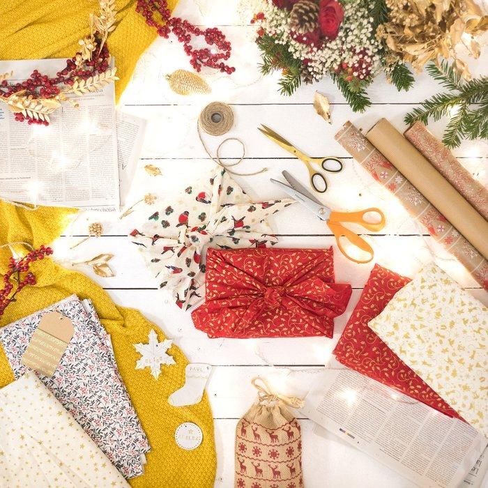 Emballages de Noël réutilisables, le furoshiki avec Ekolo Geek
