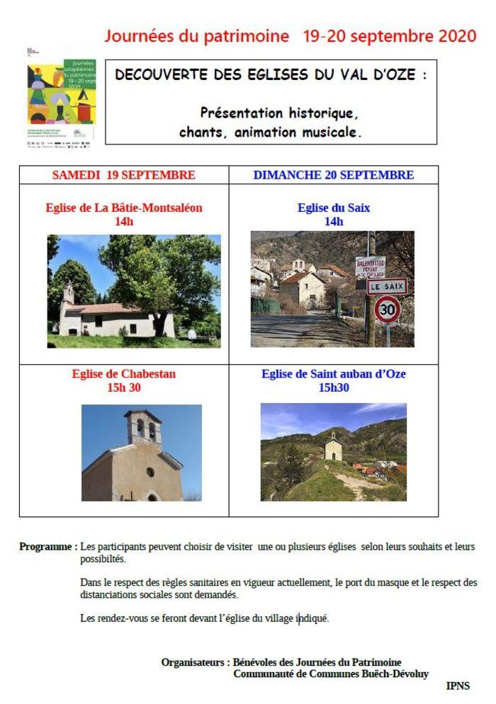 Journées du patrimoine 2020 - Découverte des églises du val d'Oze