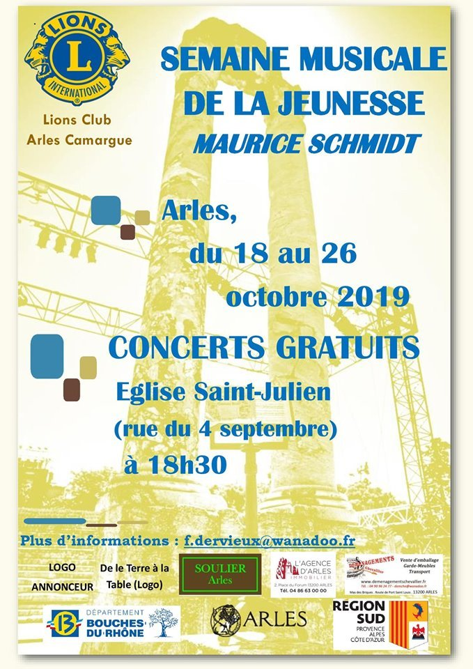 le Lions Club Arles Camargue propose une série de concerts en partenariat avec le Conservatoire et les écoles de musique du Pays d'Arles.