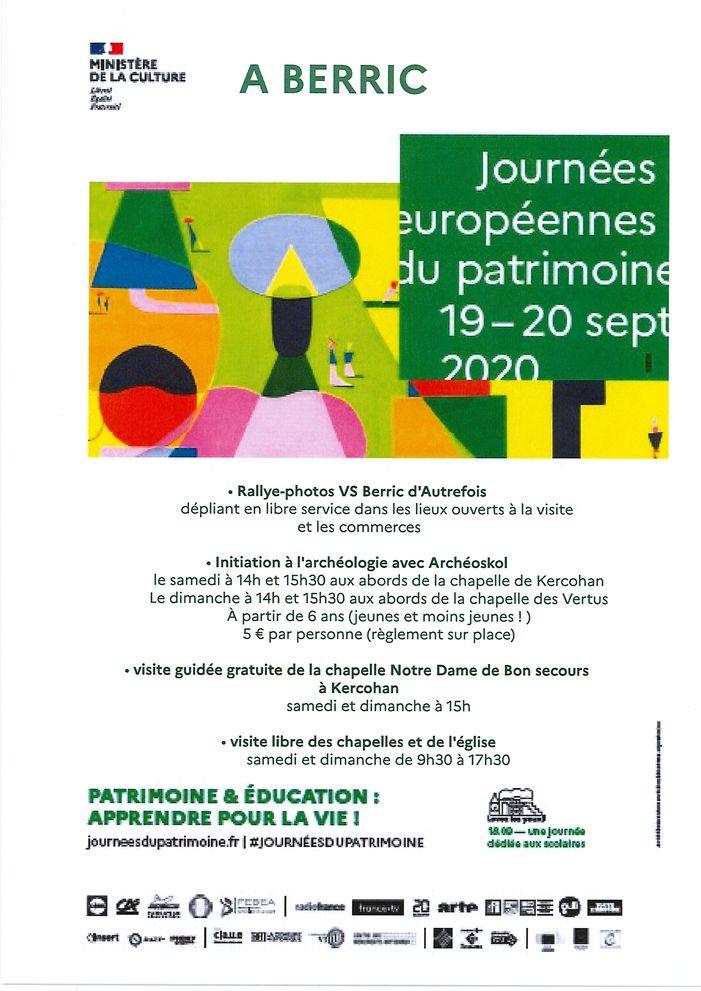 Journées du patrimoine 2020 - Visite libre de la Chapelle de Kercohan, à Berric