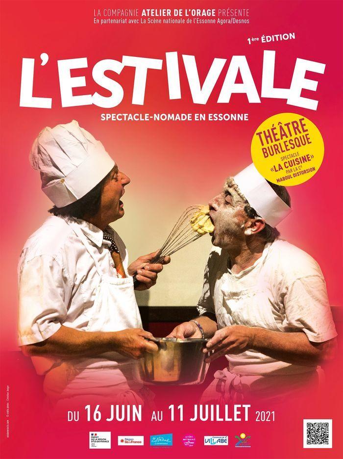 1ère édition de l'Estivale, manifestation en plein air, festive et familiale. Au programme, un seul et même spectacle en tournée dans onze communes du Sud-Essonne : La Cuisine / Cie Maboul Distorsion