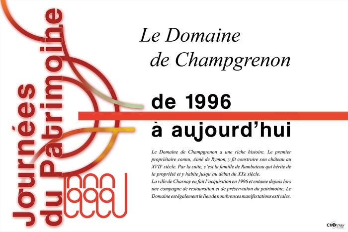 Journées du patrimoine 2020 - Expositions consacrées au Domaine de Champgrenon
