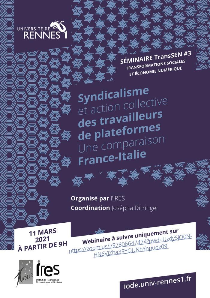 Le séminaire TransSEN#3, coordonné par Josépha Dirringer, se déroulera sous la forme d'un webinaire le jeudi 11 mars 2021.