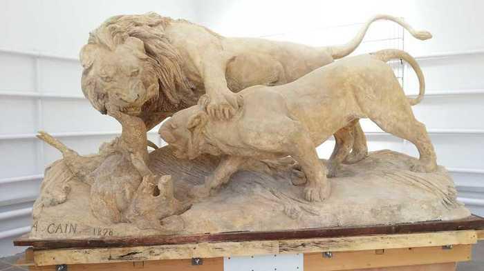 Journées du patrimoine 2019 - Présentation de l'œuvre d'Auguste Caïn : Lion et lionne se disputant un sanglier