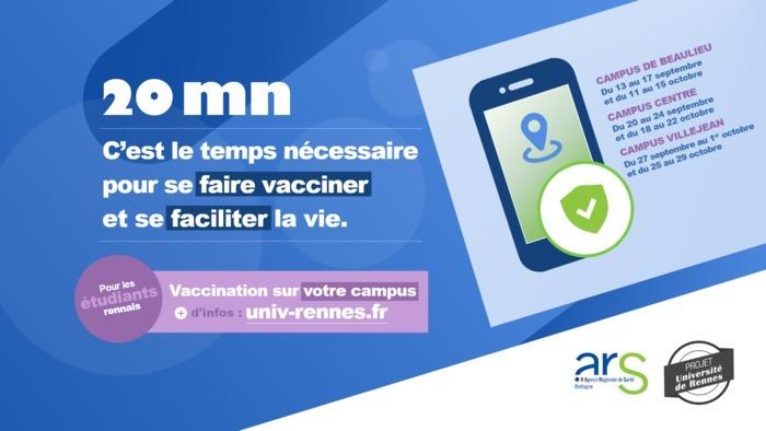 Coordonnés par l'Agence Régionale de Santé et l'équipe du projet UNIR, 4 centres de vaccination temporaires sont ouverts sur les campus rennais avec et sans rendez-vous.