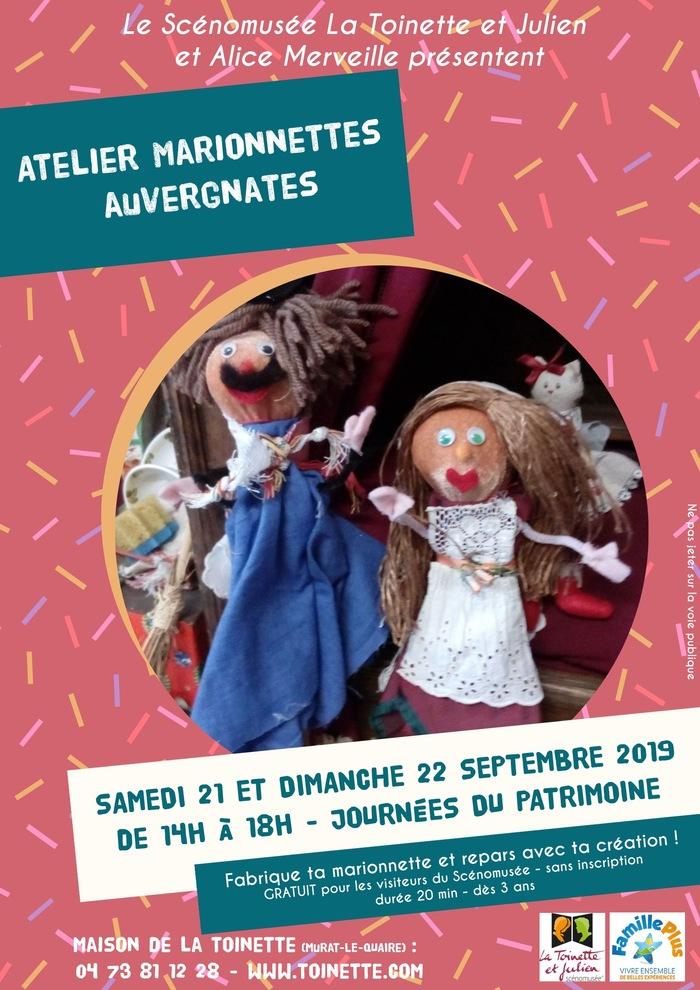 Journées du patrimoine 2019 - Atelier marionnettes auvergnates