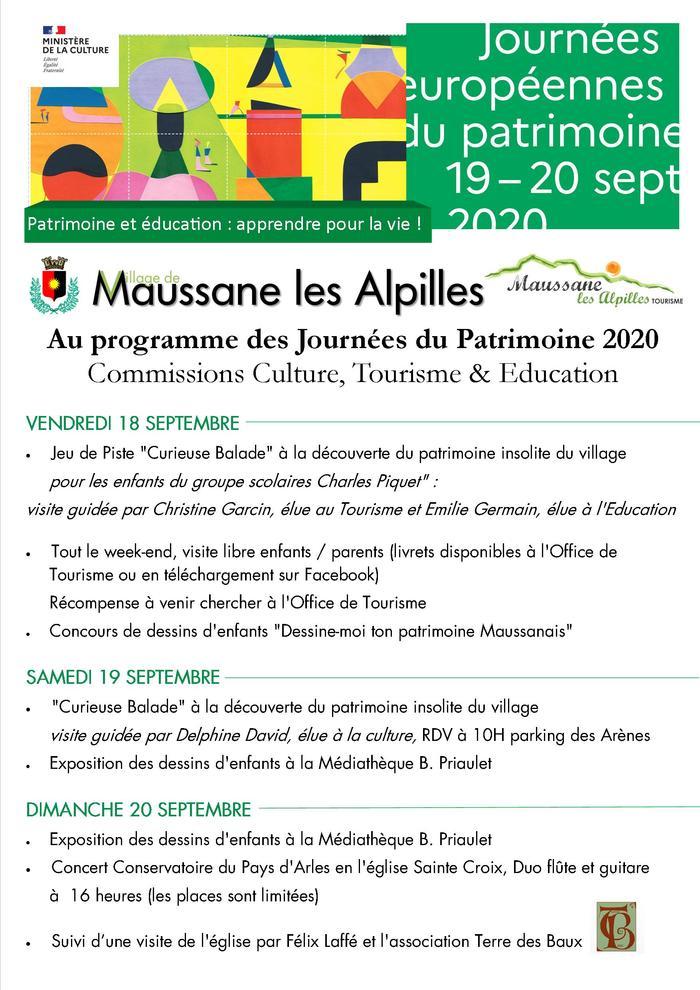 Journées du patrimoine 2020 - Annulé | Journées européennes du patrimoine de Maussane les Alpilles