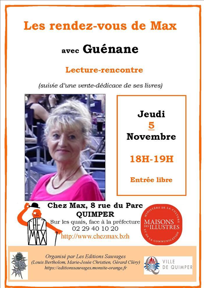 Rencontre-lecture de Guénane qui illustrera son parcours en poésie.