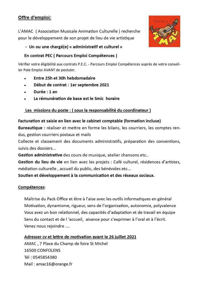 AMAC : Offre d'emploi !!!