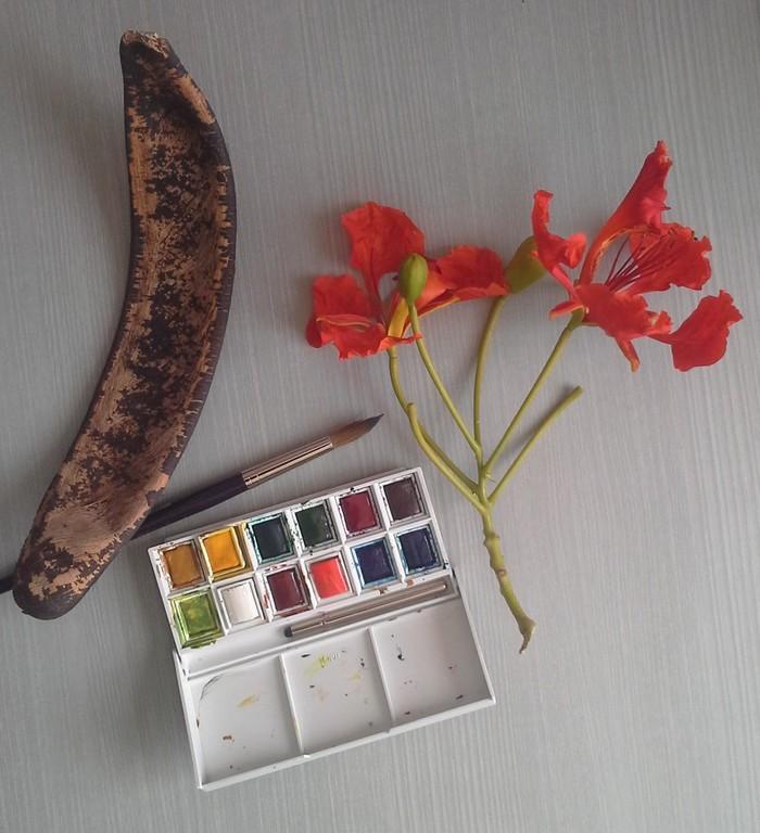 Journées du patrimoine 2020 - FdF / Décoration peinture sur chacha de flamboyant