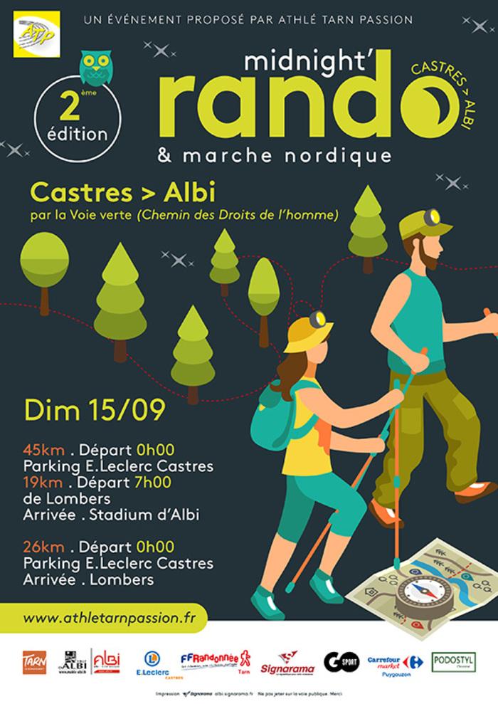 C'est parti pour la 2ème édition! Dimanche 15 Septembre, 2 parcours au départ de Castres à 0h00 et 1 au départ de Lombers à 7h00, il y en aura pour tous les goûts !