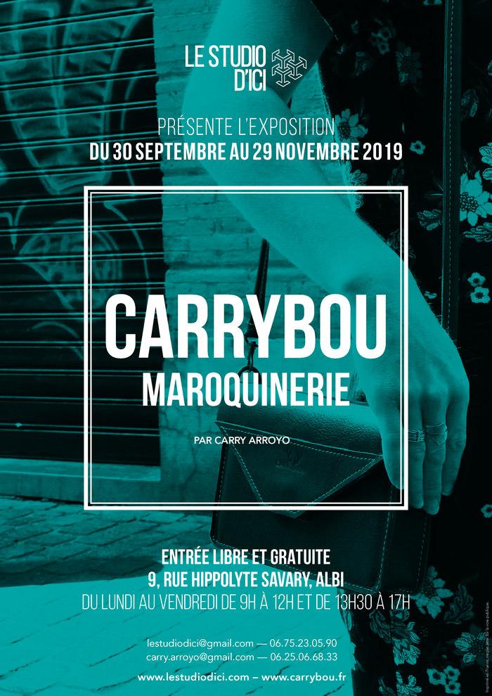 A partir du lundi 30 septembre 2019 et jusqu'au 29 novembre 2019, Le Studio d'Ici accueille l'exposition de Carrybou, créatrice et artisan d'art en maroquinerie.