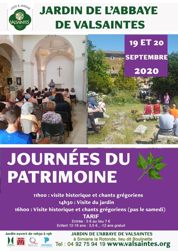Journées du patrimoine 2020 - Visite guidée historique du jardin de l'abbaye de Valsaintes et chant grégorien.