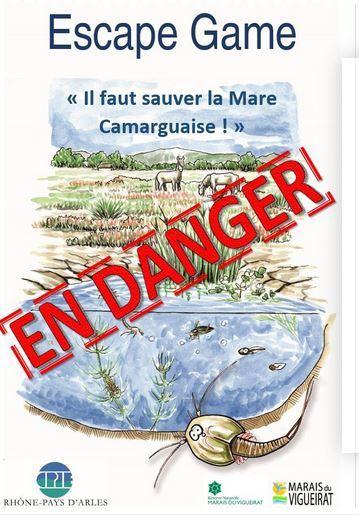 """A l'occasion des Journées européennes du patrimoine, avec le soutien du Pôle relais lagunes Méditerranéennes, vous êtes conviés à l'inauguration de l'ESCAPE GAME : """"Il faut sauver la mare camarguaise"""""""