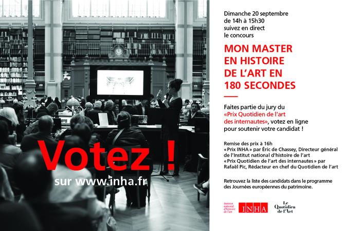 Journées du patrimoine 2020 - Concours: Mon master en histoire de l'art en 180 secondes