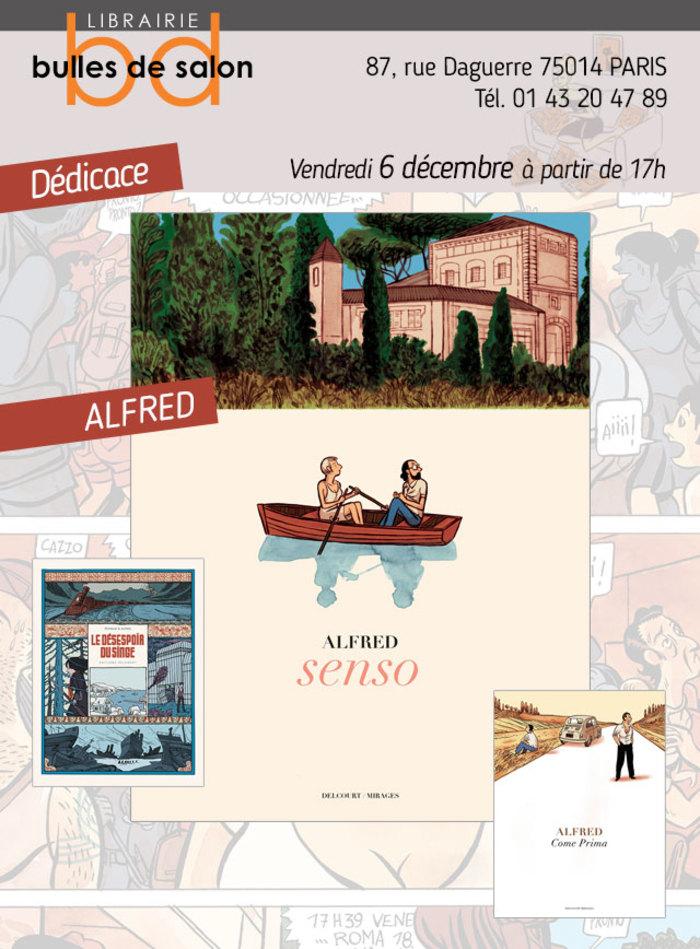 """À l'occasion de la sortie de son nouvel album """"Senso"""" aux Éditions Delcourt, nous recevons Alfred à la librairie pour une petite séance de dédicaces le vendredi 6 Décembre à partir de 17h"""