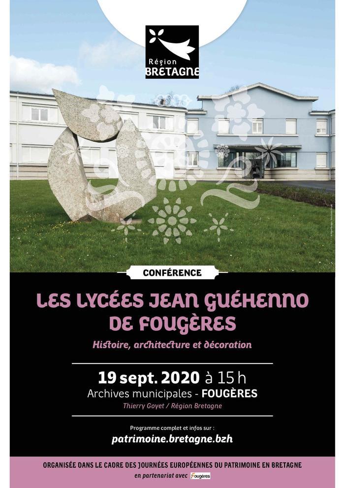Journées du patrimoine 2020 - Conférence : Les lycées « Jean Guéhenno » de Fougères : histoire, architecture et décoration