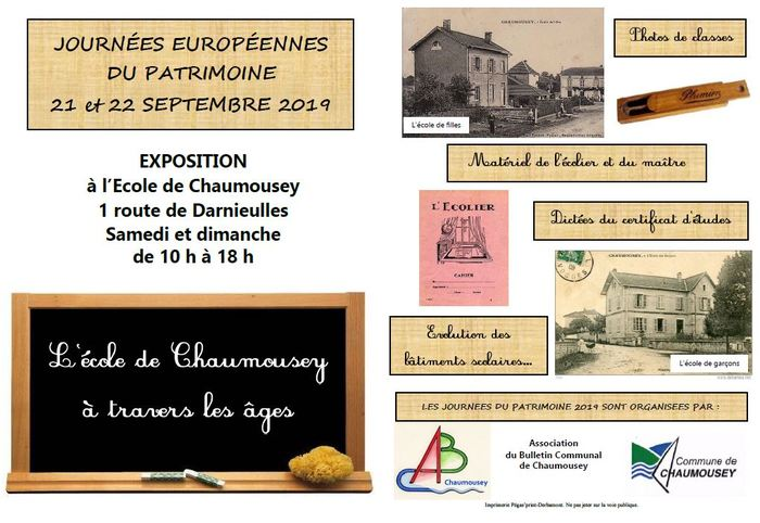 Journées du patrimoine 2019 - L'école de Chaumousey à travers les âges