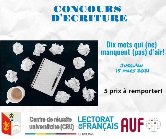 Pour célébrer le mois de la Francophonie, nous vous invitons à laisser libre cours à votre imagination et à participer au concours d'écriture « Dix mots qui (ne) manquent (pas) d'air ! ».