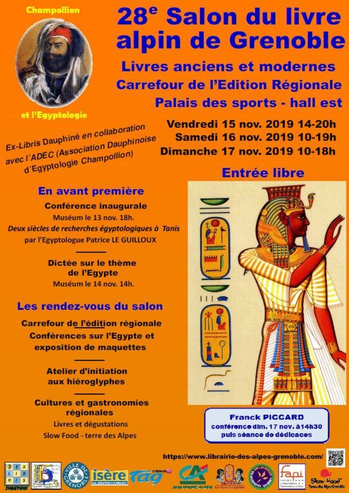 Séance de dédicaces et rencontre d'auteure samedi 16 novembre 2019 au Salon du Livre Alpin de Grenoble, entre 14 h et 19 h, au Palais des Sports côté Est (entrée gratuite).