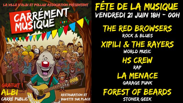 Pollux association fête la musique au Carré Public ! Un programme rock avec la Menace, Forest of Beards et The Red Browsers, reggae avec Xipili & The Rayers et hip-hop avec HS Crew