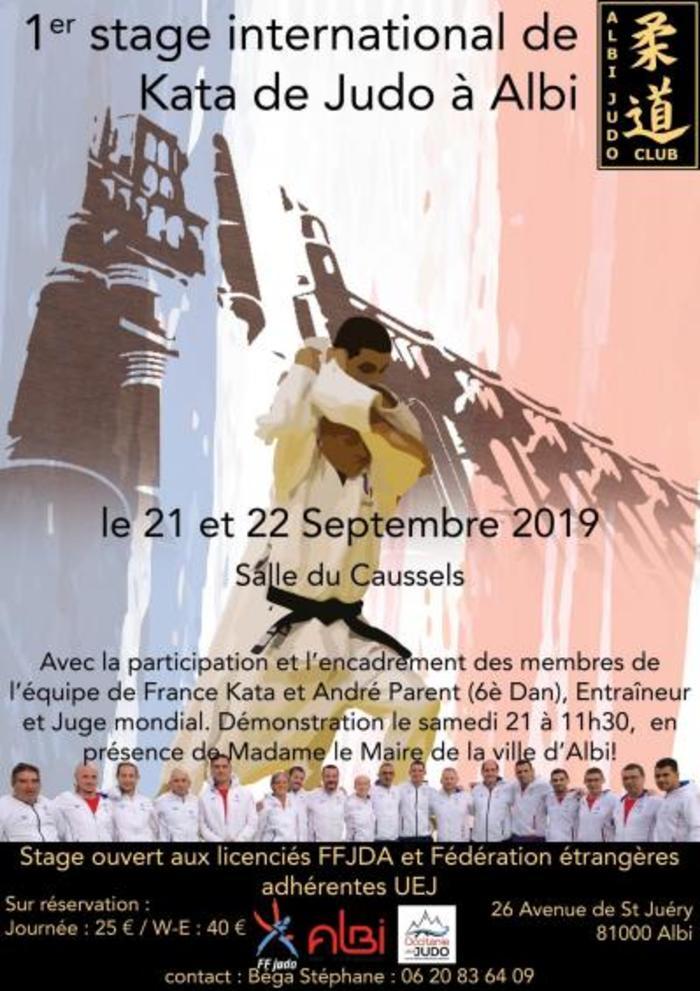 L'association Albi Judo Club propose le 1er stage international kata de judo organisé à Albi. Il aura lieu le 21 et 22 septembre 2019 à la salle du Caussels 26 avenue de Saint Juéry