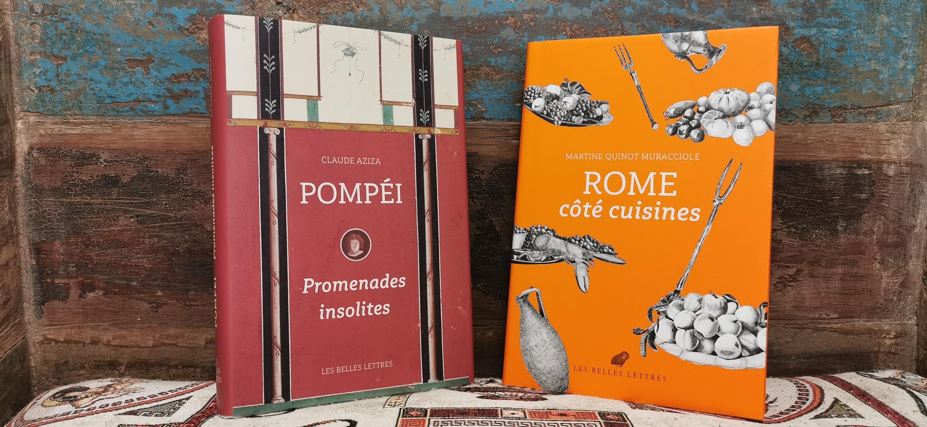 Nous recevons samedi 12 juin, 2 auteurs, qui seront là pour discuter et dédicacer leurs ouvrages : Claude Aziza, pour Pompéi Promenades insolites, et Martine Quinot-Muracciole, pour Rome côté cuisines