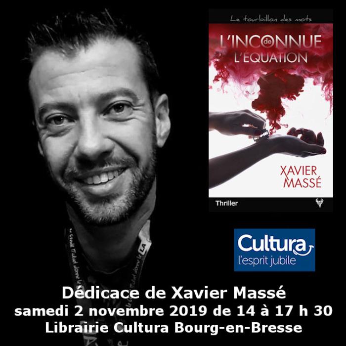 Dédicace Xavier Massé Cultura Bourg-en-Bresse  2 Novembre